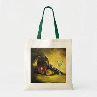 La bolsa de asas de la lona del vino y de la fruta