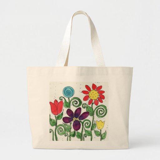 La bolsa de asas de la lona - flores provenidas -