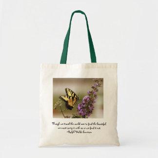 La bolsa de asas de la mariposa con la cita de Ral