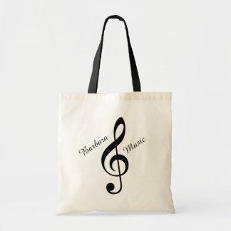 la bolsa de asas de la música del clef agudo con