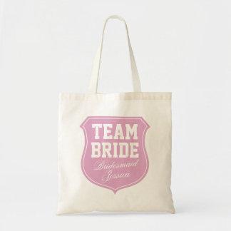 La bolsa de asas de la novia del equipo personaliz