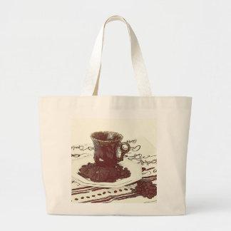 la bolsa de asas de la taza de café y de los grano