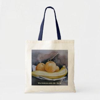 La bolsa de asas de las manzanas y de los plátanos