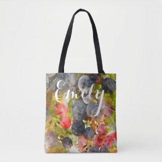 La bolsa de asas de las uvas de la acuarela