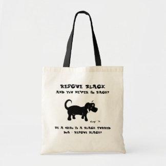 La bolsa de asas de los perros negros del rescate