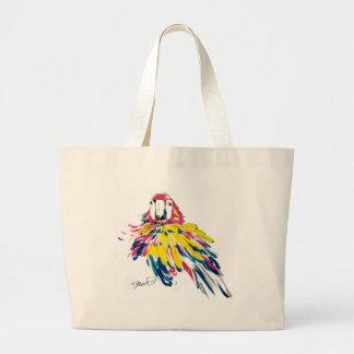 La bolsa de asas de seda de la pintura del loro de