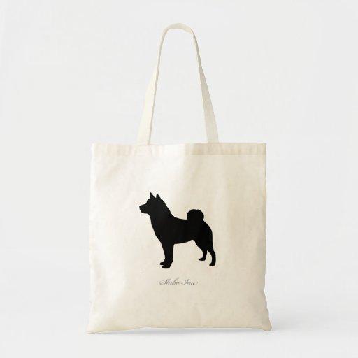 La bolsa de asas de Shiba Inu (silueta negra)