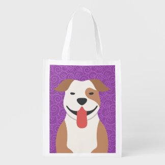La bolsa de asas de Terrier de pitbull Resusable Bolsa Para La Compra