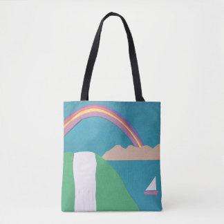 La bolsa de asas del arco iris y de la cascada