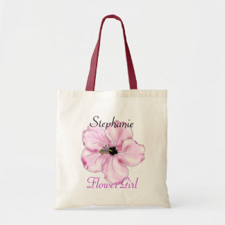 La bolsa de asas del arte del hibisco del rosa del