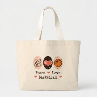La bolsa de asas del baloncesto del amor de la paz