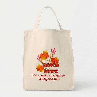 La bolsa de asas del boda de la novia de la playa