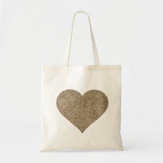 La bolsa de asas del boda del corazón del brillo