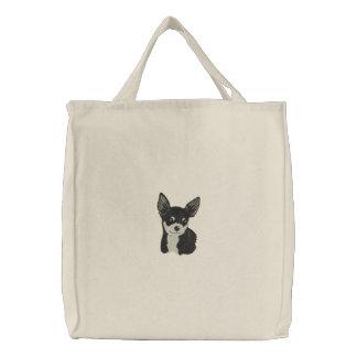 La bolsa de asas del bordado del arte del perro de