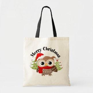 La bolsa de asas del búho de las Felices Navidad
