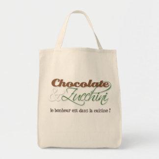 La bolsa de asas del chocolate y del calabacín