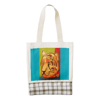 La bolsa de asas del corazón con el tigre