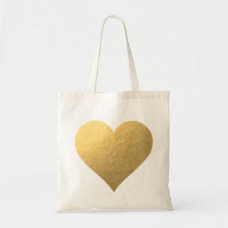 La bolsa de asas del corazón de la hoja de oro