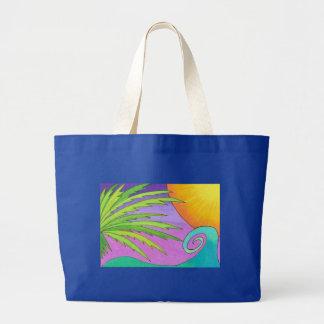 La bolsa de asas del jumbo de la puesta del sol de