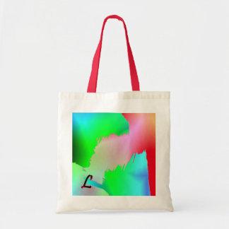 La bolsa de asas del monograma en estilo verde y