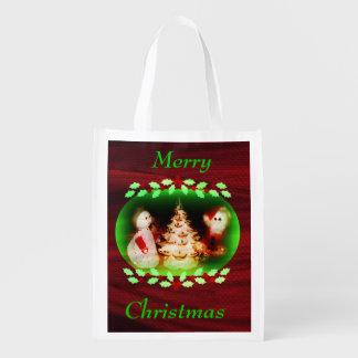 La bolsa de asas del navidad del vintage bolsa para la compra