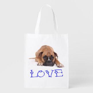 La bolsa de asas del perro de perrito del boxeador bolsas reutilizables