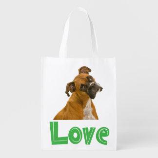 La bolsa de asas del perro de perrito del boxeador bolsas para la compra