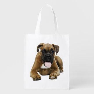 La bolsa de asas del perro de perrito del boxeador bolsa reutilizable