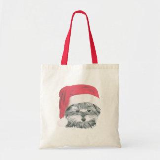 La bolsa de asas del perro de Yorkie del navidad