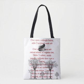 La bolsa de asas del poema del vintage del cuervo