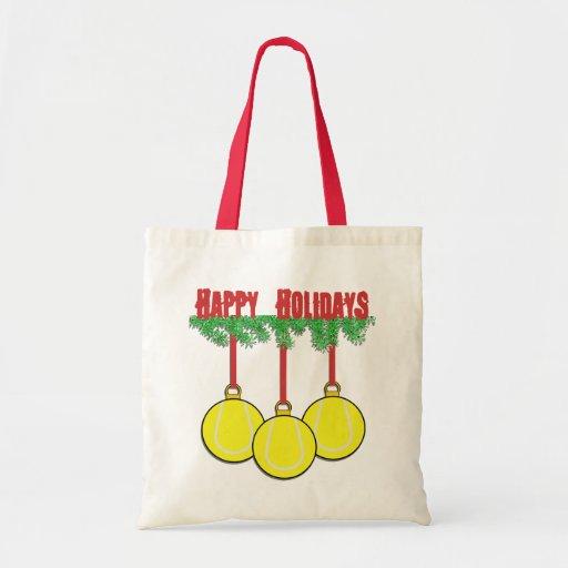 La bolsa de asas del tenis del navidad