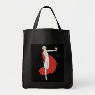La bolsa de asas del vintage de la chica marchosa