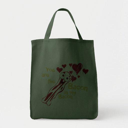 La bolsa de asas divertida del amor del tocino