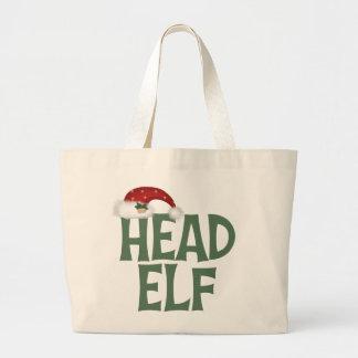 La bolsa de asas divertida del duende del navidad