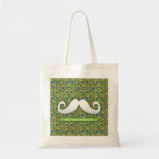La bolsa de asas divertida linda del bigote con la
