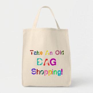 La bolsa de asas divertida toma compras del bolso