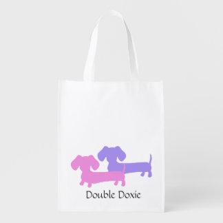 La bolsa de asas doble del Dachshund de Doxie Bolsa Para La Compra