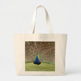 La bolsa de asas enorme con diseño del pavo real