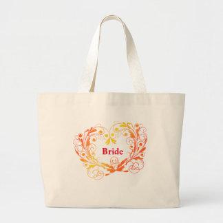 La bolsa de asas enorme de la novia con remolinos