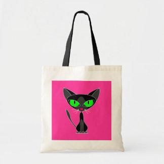 La bolsa de asas felina de lujo del gato negro