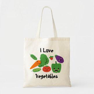 La bolsa de asas feliz de las verduras