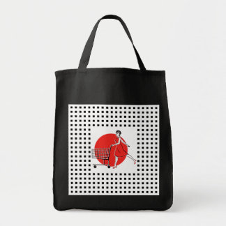 La bolsa de asas feliz del comprador de la comida
