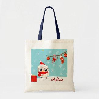La bolsa de asas feliz del navidad del búho de la