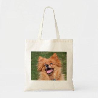 La bolsa de asas feliz del perro de Pomeranian, id