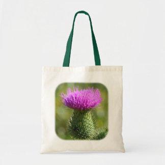 La bolsa de asas floral de la naturaleza del cardo