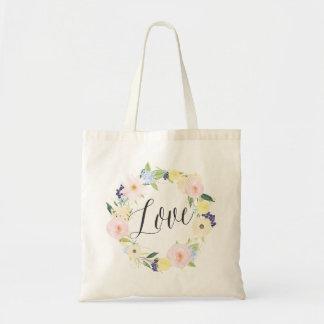 La bolsa de asas floral del amor de la guirnalda