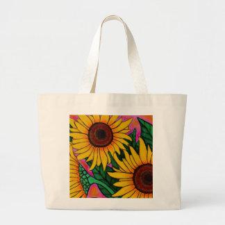 La bolsa de asas floral enrrollada del girasol