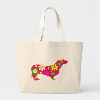 La bolsa de asas floral enrrollada del perro del d