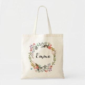 La bolsa de asas floral personalizada