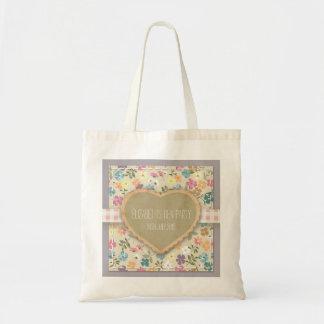 La bolsa de asas floral personalizada del país del
